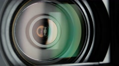 Video camera lens, showing zoom, close up Stock Footage