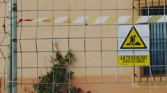 Warning Sign Construction Site - stock footage