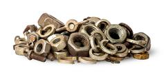 Pile of old fasteners Stock Photos
