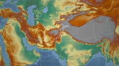 Afghanistan and Globe. Relief Stock Footage