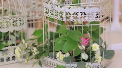 Flowers in white vintage decorative for birthday, anniversary or wedding Stock Footage