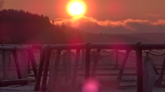 Sunrise, Ladoga lake, rainbow trout farm Stock Footage