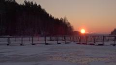Sunrise, rainbow trout farm, winter, freeze. Stock Footage