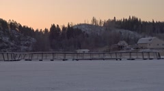 Sunrise, Ladoga lake, rainbow trout farm, winter Stock Footage