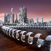 Futuristic city architecture - stock illustration