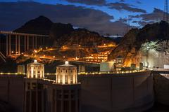 Hoover Dam at twilight Stock Photos