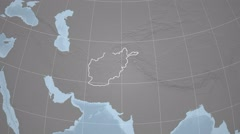 Afghanistan and Globe. Set of five animations plus matte - stock footage