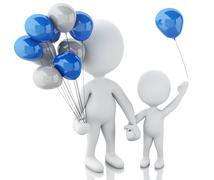 3d parents with children and balloons Stock Illustration