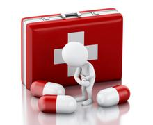 3d White people with pain needs pills. Stock Illustration