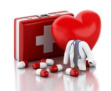 Stock Illustration of 3d red heart, pills and First Aid Kit.