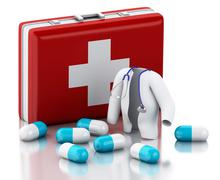 3d Stethoscope, pills and First Aid Kit. Stock Illustration