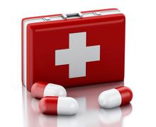 3d Pills and First Aid Kit. - stock illustration