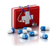 Stock Illustration of 3d Stethoscope, pills and First Aid Kit.