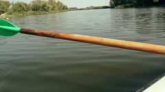 Rowing oar in the water - stock footage