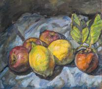Composition of peaches painted with oil colors Stock Illustration