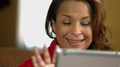 Woman in Pajamas on Tablet iPad Facetime Stock Footage