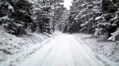 Driving in winter forrest, on a frosty January day Stock Footage