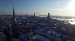 Aerial view over the Old Riga City Stock Footage
