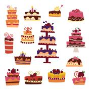Vector cake collection isolated on white background - stock illustration