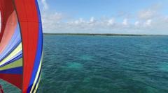 AERIAL: Full Sail Sailboat Close Up - stock footage