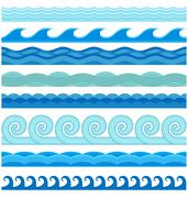 Waves flat style vector seamless icons collection Stock Illustration