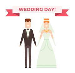 Wedding couple cartoon style vector illustration - stock illustration