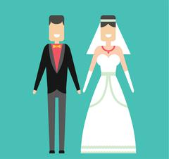 Stock Illustration of Wedding couple cartoon style vector illustration