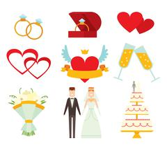 Wedding couple and icons cartoon style vector illustration - stock illustration