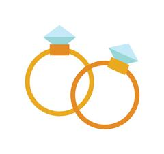 Wedding golden rings isolated on background - stock illustration