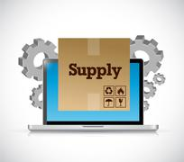 track supply shipment on a computer - stock illustration