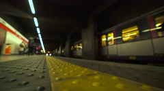Train arrives to the metro station. 4K Stock Footage