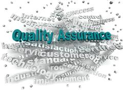 3d image Quality Assurance word cloud concept Stock Illustration
