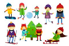 Stock Illustration of Christmas kids playing winter games