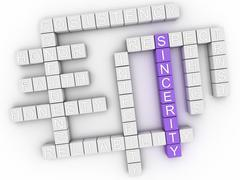 3d image Sincerity word cloud concept - stock illustration