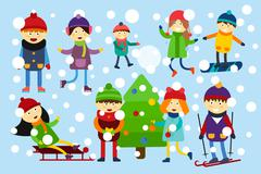 Christmas kids playing winter games Stock Illustration