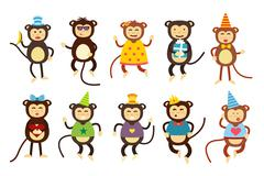 Happy cartoon monkey dancing party birthday background Stock Illustration