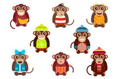Happy cartoon monkey dancing party birthday background - stock illustration