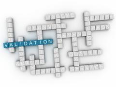 3d image Validation word cloud concept Stock Illustration