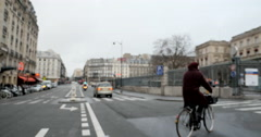 Defocused Paris street view 5 Rue du 8 Mai 1945 in Paris, France Stock Footage