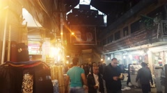 Crowd of people walking shopping inside the old local market Bazaar of Tehran Stock Footage