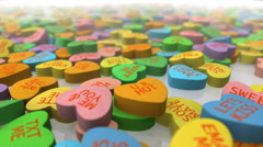 Valentine's Day Conversation Candy Stock Footage