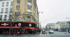 Eas Side Cafe on 5 Rue du 8 Mai 1945 in Paris, France Stock Footage