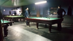 Iranian young generation play 8 ball in billiard clubs after removing of ban Stock Footage