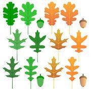 oak leaves - isolated - stock illustration