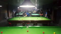 Iranian young generation play snooker in billiard clubs after removing of ban - stock footage