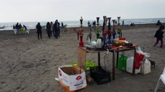 Shisha rental near the Caspian sea in Iran - People walking in background Stock Footage