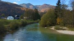 Sava Bohinjka river, Bohinj, Slovenia. Stock Footage