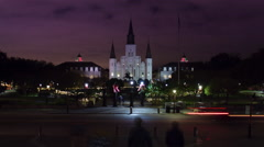 New Orleans Jackson Square at Night (4K) - stock footage
