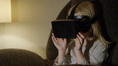 Young Girl Using Virtual Reality - stock footage
