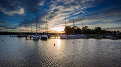 4k timelapse of yacht boats in port at evening. Stock Footage